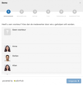 Salonhub online afspraak widget stap 1 medewerker keuze